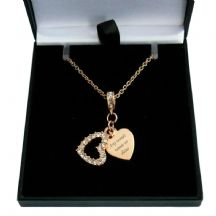 Rose Gold Engraved Heart Necklace with Crystal Heart